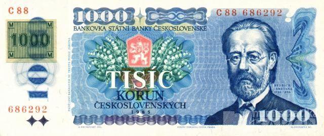 1000Kč/1985-93/, stav UNC, lepený kolek ČR 1993, série C
