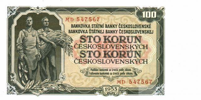 100Kčs/1953/, stav UNC, tisk STC