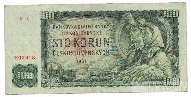 100Kčs/1961/, stav 2+, série B
