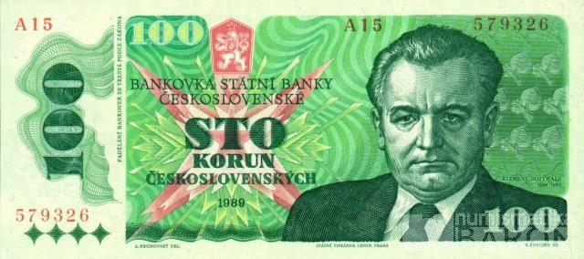 100Kčs/1989-Gottwald/, stav UNC, série A 23