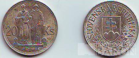 20 Ks(1941), stav 1-/1-, super cena za 15g 500/1000 stříbra