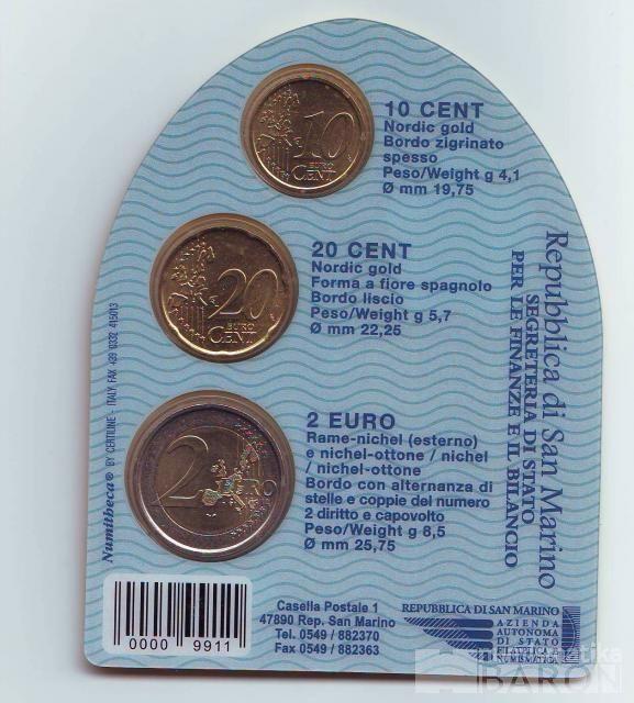 Ročníková malá sada EURO mincí San Marino(2007), stav 0/0