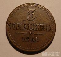 Rakousko 3 Krejcar 1851 G