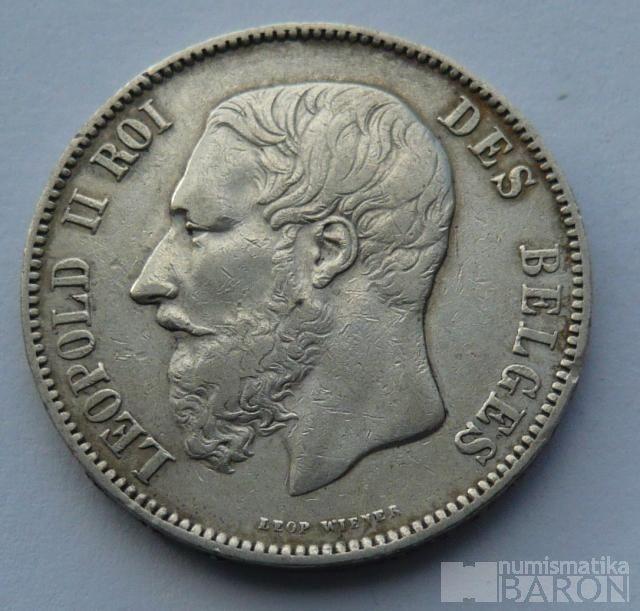 Belgie 5 Frank 1873 Leopold II.