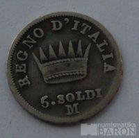 Itálie 5 Soldi 1812 M Napoleon Bon.