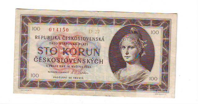 100Kčs/16.5.1945/, stav 2, série D 27