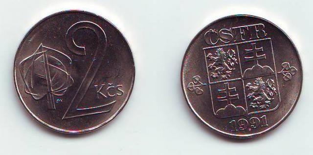 2 Kčs(1991-znak ČSFR), stav 0/0, dokonalá kvalita, ražba Kremnice