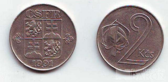 2 Kčs(1991-znak ČSFR), stav 0/1+