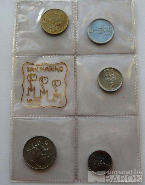 San Marino sada mincí 1-20 Lir 1972