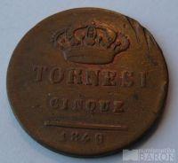 Itálie - Sicílie a Neapol 5 Tornesi 1849