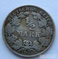 Německo 1/2 Marka 1908 A