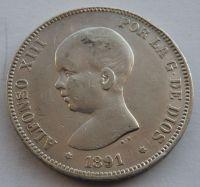 Španělsko 5 Peseta 1889 Alfonzo XIII.