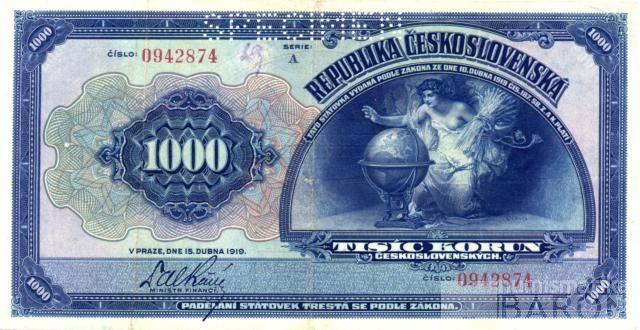 KOPIE 1000Kč/1919/, stav UNC perf. SPECIMEN