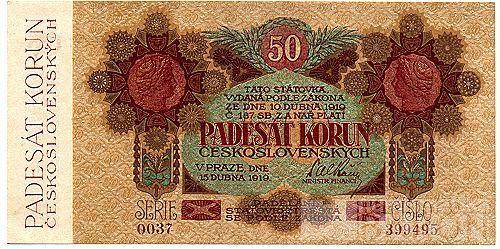 KOPIE 50Kč/1919/, stav UNC perf. SPECIMEN