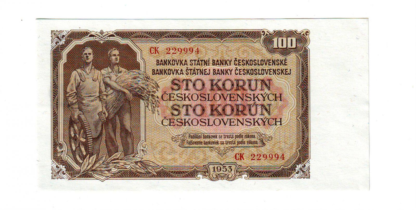 100Kčs/1953/, stav UNC, tisk GOZNAK