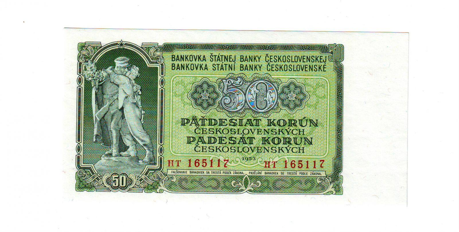 50Kčs/1953/, stav UNC, tisk STC