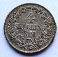 Dánsko 4 Schilling 1854 Frederik VII.