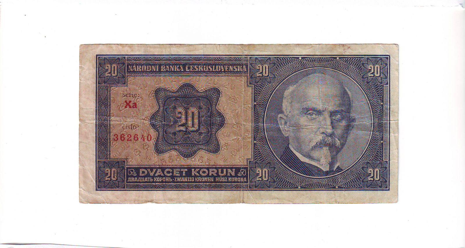 20Kč/1926/, stav 3, série Xa - tisk Haase Praha