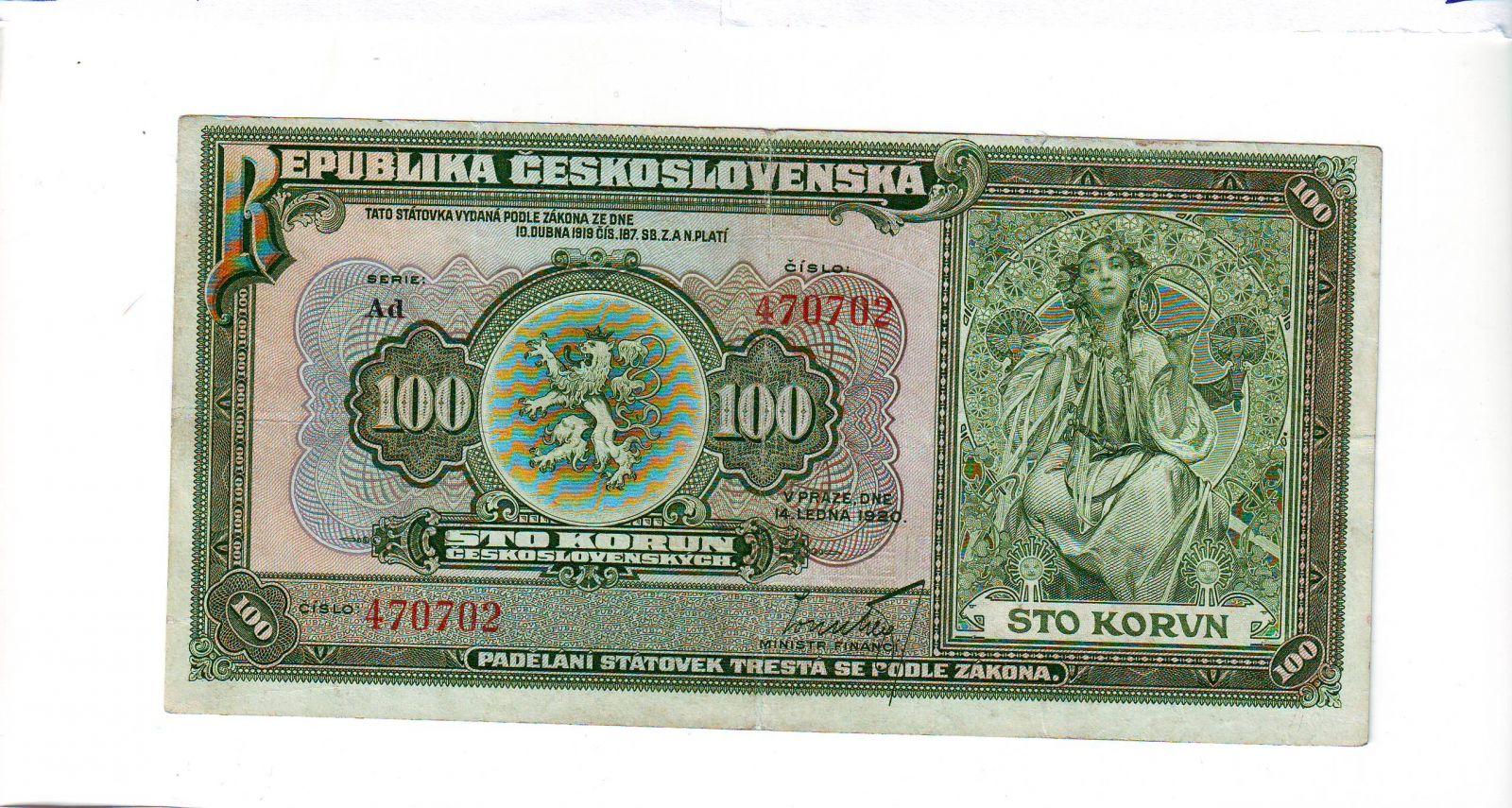 100Kč/1920/, stav 2+, série Ad