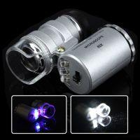 Mini mikroskop/lupa s přísvitem a UV lampou, zvětšení 60x