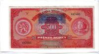 500Ks/1929-39, přetisk Slovenský Štát/, stav 3 perf. SPECIMEN, série F