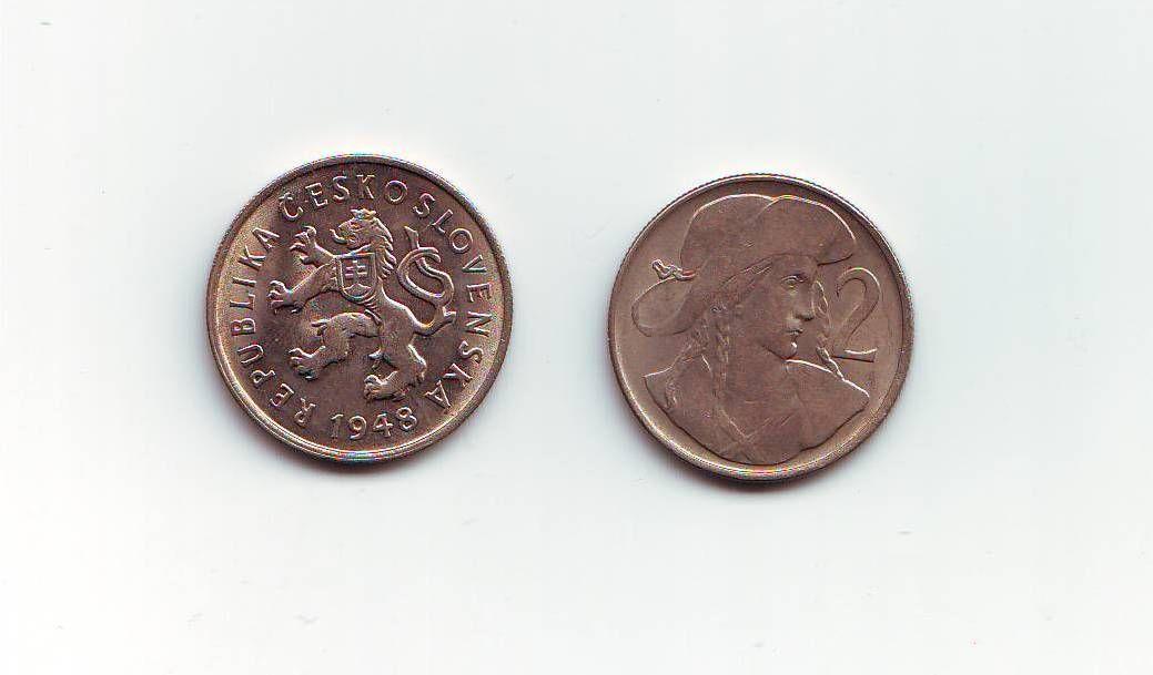 2 Kčs(1948), stav 1+/1+