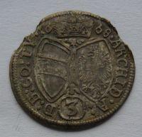 Rakousko 3 Krejcar 1668 Hall - Leopold I.