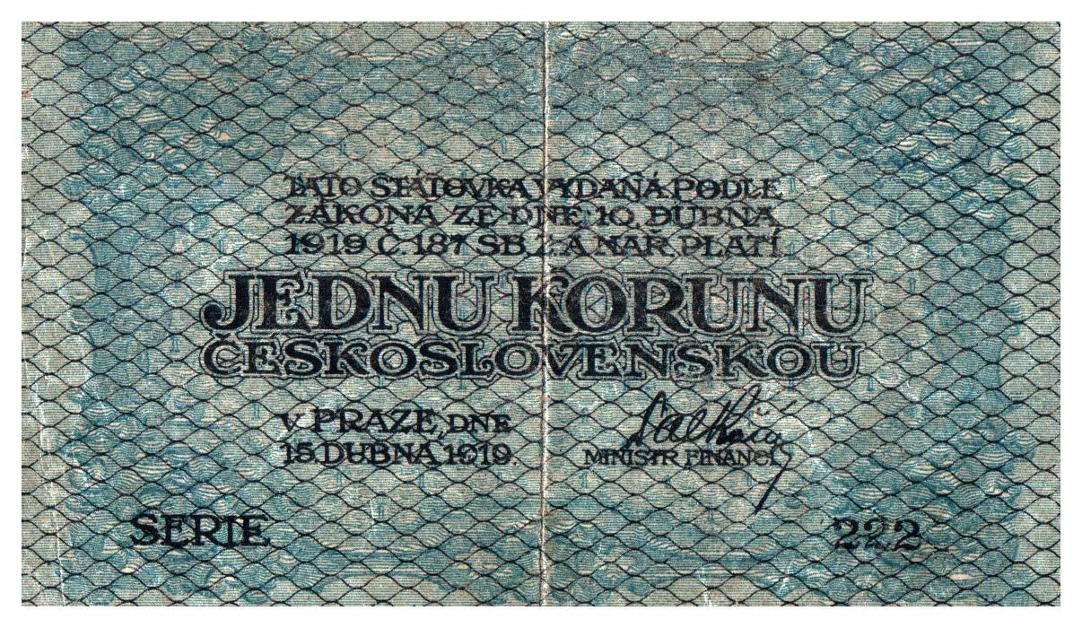 1Kč/1919/, stav 1-2, série 222, modro-zelená
