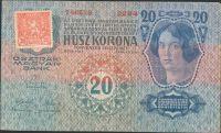 20Kč/1913-19, kolek ČSR/, stav 2 dr.n., série 2244, I. vydání