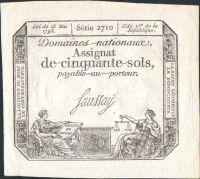 50Sous/1793-Asignát-Francie/, stav 0, velmi zachovalý!