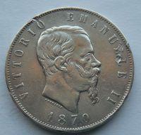 Itálie 5 Lir 1870 Vik. Emanuel