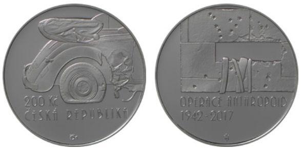 200 Kč(2017-Operace Anthropoid), stav PROOF, certifikát, etue