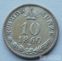 Rakousko 10 Krejcar 1860 V, téměř 0/0