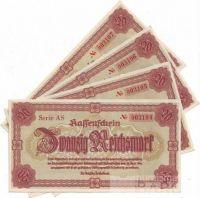20 Reichsmark/1945-Liberec/, stav UNC až 0, série AS