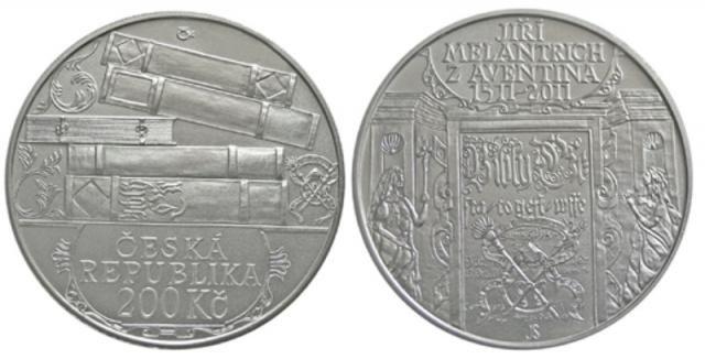 200 Kč(2011-500. výročí narození Jiřího Melantricha z Aventina), stav PROOF, certifikát