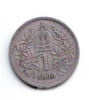 1 Koruna(1900), stav 1-/2, ražba bz