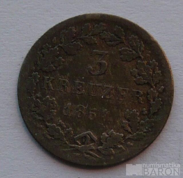 Hessen Darmstat 3 Krejcar 1854
