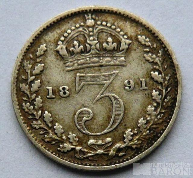 Anglie 3 Pence 1891 Viktorie