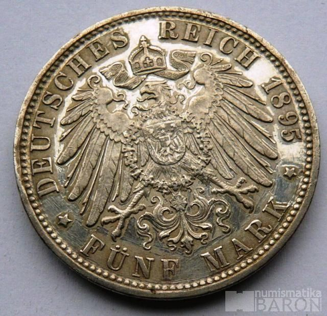 Bavorsko 5 Marek 1895 D Otto