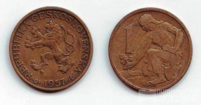 1 Kčs(1957-starý znak), stav 1-/1-