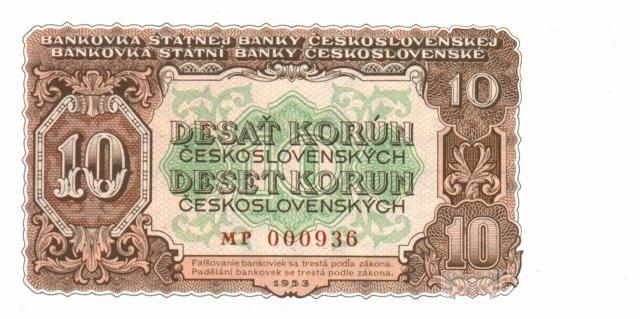 10Kčs/1953/, stav UNC, tisk STC