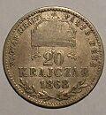 20 Krejcar(1868-ražba GYF), stav viz. foto (opis Magyar Kiralyi-Válto Penz)