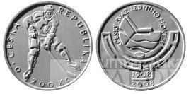 200 Kč(2008-český hokejový svaz), stav PROOF, certifikát