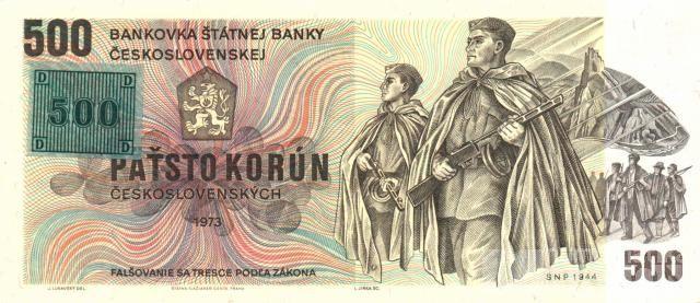 500Kčs/1973-93/, stav UNC, lepený kolek ČR 1993, série Z