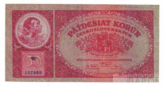 50Kč/1929/, stav 2, série W, chybotisk OKTOBRA