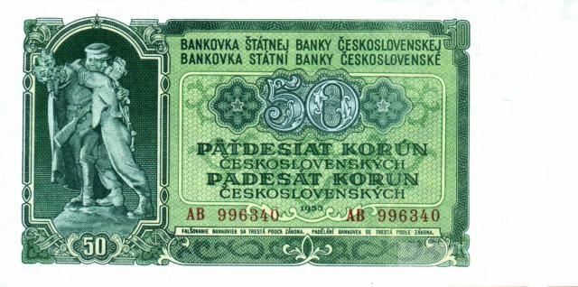50Kčs/1953/, stav UNC, tisk GOZNAK Moskva