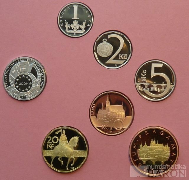 Ročníková sada oběžných mincí ČR (2009), stavy PROOF
