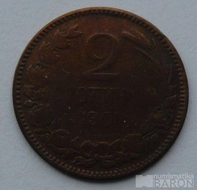 Bulharsko 2 Stotinky 1901