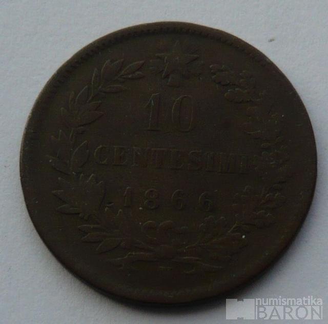 Itálie 10 Centisimi 1866