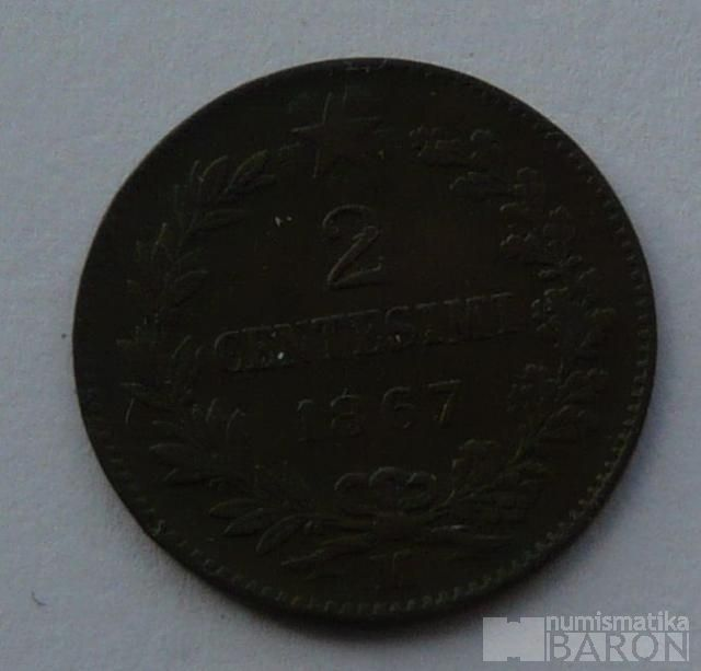 Itálie 2 Centisimi 1867